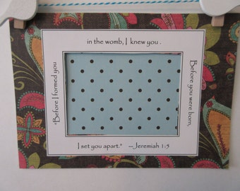 Ultrasound Frame or Mat with Bible Verse - Aqua, Pink Yellow Brown - Birds Paisley Flowers and Polka Dots - Baby Girl - 5 x 7