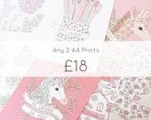 Any 2 A4 Illustration Prints