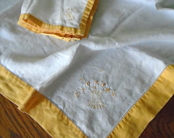 Pretty Tablecloth & Napkins / Vintage Tablecloth And Napkins / Golden Yellow Edge / Hand Embroidered Flower Baskets / Card Table / Tea party