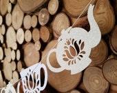 Tea Party Garland - Tea Party Decoration - Teacup Bunting - Wedding Decoration - Brithday Decor - Teapot - Bridal Shower - White Glitter