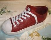 Concrete Red Tennis Shoe Planter