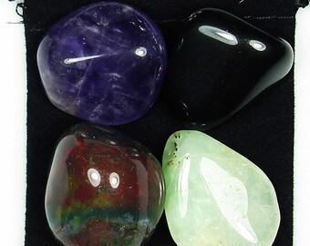 IRRITABILITY Tumbled Crystal Healing Set - 4 Gemstones w/Description Pouch -   Amethyst, Bloodstone, Obsidian, & Prehnite