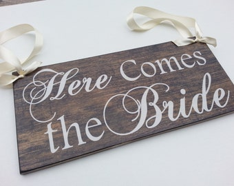 Here Comes The BRIDE Signs, Wood Background, Wedding and photo props, Single Sided 12in, ring bearer sign