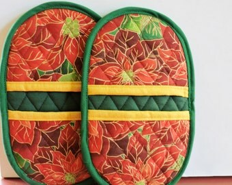 Mini Microwave Mitts-Oven Mitts-Red Poinsettia and green trim, Free Shipping