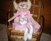 Handmade Breast Cancer Elf Raggedy  Cloth Doll