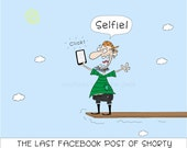 FACEBOOK SELFIE Funny Cartoon With Pirate Walking The Plank For Print or Mug