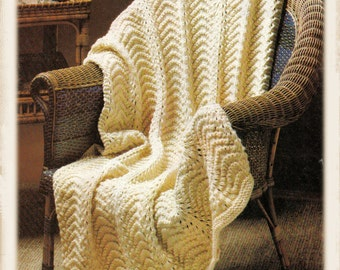 Instant Download PDF Easy Beginners Knitting Pattern to make a Chunky Aran Style Textured  Blanket Sofa Throw Fireside Rug Cottage Chic
