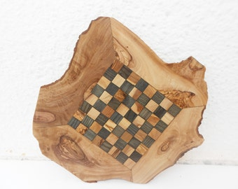 Natural Edges Unique Olive Wood Rustic Chess Set, Christmas Gift