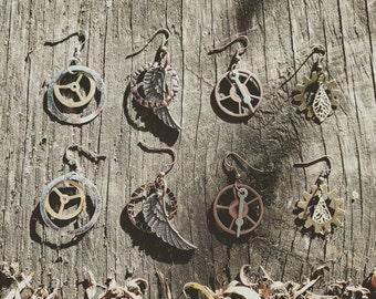 Steampunk Earrings Set of 4