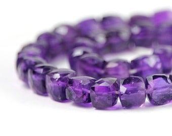Amethyst Micro Faceted Cube Beads 2 Grape Purple Dark Purple Semi Precious Gemstone