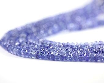 Tanzanite Micro Faceted Rondelles Full Strand Translucent Periwinkle Semi Precious Gemstone Beads