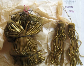 "6 Vintage/Antique French Dark Gold Metallic Bullion 4.5"" Tassels Fringe AMAZING PRICE"