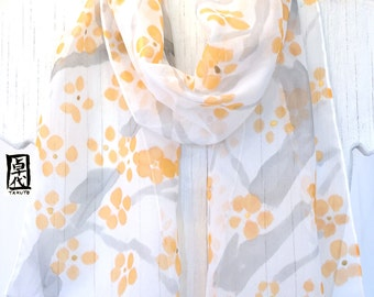 Silk Scarf Handpainted, Gift for her, Gift under 50, Orange and Gray Plum Blossom Scarf, Japanese Scarf, Silk Scarves Takuyo, 8x54 inches.