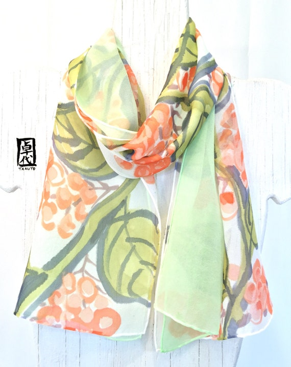 Reversible Silk Scarf Hand Painted, Gift for her, Christmas Gifts, Green and Orange Berries scarf, Silk Chiffon Scarf, 8x54 inches.
