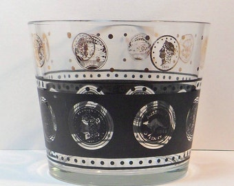 Sale Glass Ice Bucket Ice Tub Black Gold Coin Medallion Vintage 1950s Barware Bar Accessory