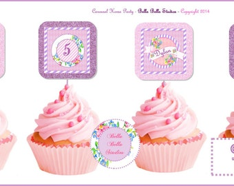Carousel HORSE CUPCAKE TOPPERS - Personalized Printable Download