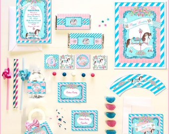 CAROUSEL HORSE Party COLLECTION ~ Personalized Printable Download