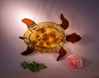 Stained Glass Sea Turtle Suncatcher (644)