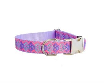 "Pink Dog Collar, Lavender Collar, 1"" wide collar"