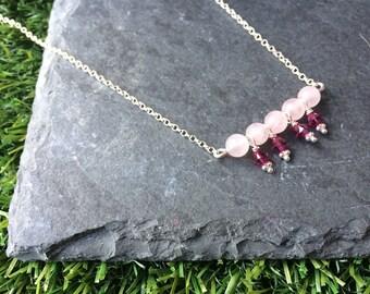 Rose Quartz and Swarovski Necklace