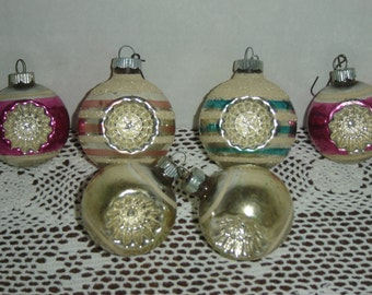 Shiny Brite double indent mercury glass ornaments, stripes, 2 with mica, small and medium size, qty 6, pink/aqua/silver, vintage 1950s