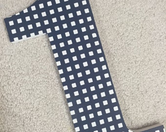 Gingham - Hand Painted - First Birthday - Wooden Photography Prop - Photo Prop - Custom - navy