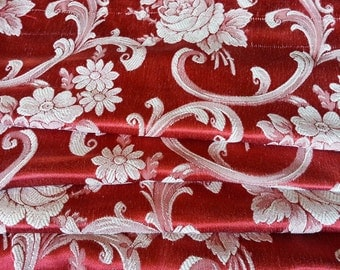 """Vintage Hollywood Curtains, Red Satin Brocade, 45""""w. x 83""""l., Reversible"""