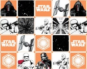 Star Wars 7 The Force Awakens - Multi Star Wars Grid Orange from Camelot Cottons