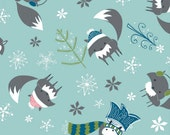 Winter Wonderland - Rainwater Foxes Aqua by Heather Rosas from Camelot Cottons
