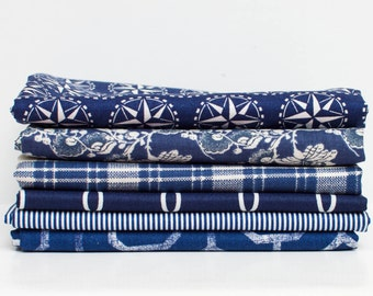 Navy Blues Fabric Bundle - Half Yard Bundle - 6 half yard pieces (B372)