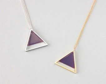 Large Two Triangle Necklace (Purple) - Modern Handmade Jewellery