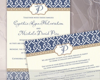 wedding invitations, wedding invitation and rsvp, navy wedding invitations, navy and cream wedding invitations, thank you cards, IN399
