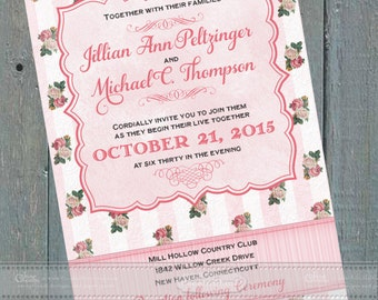 Victorian wedding invitations, bridal shower invitations, baby shower invitations, Victorian tea party, Victorian retirement party, IN411
