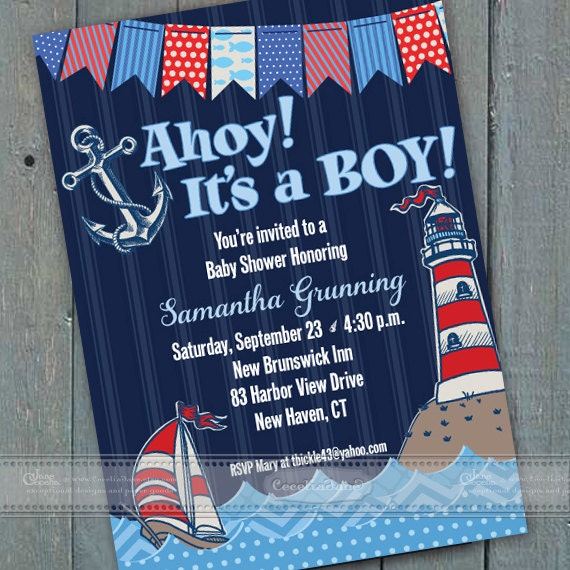 baby shower invitations, navy blue baby shower invitations, diaper raffle, coastal baby shower invitations, fishy baby shower, IN406