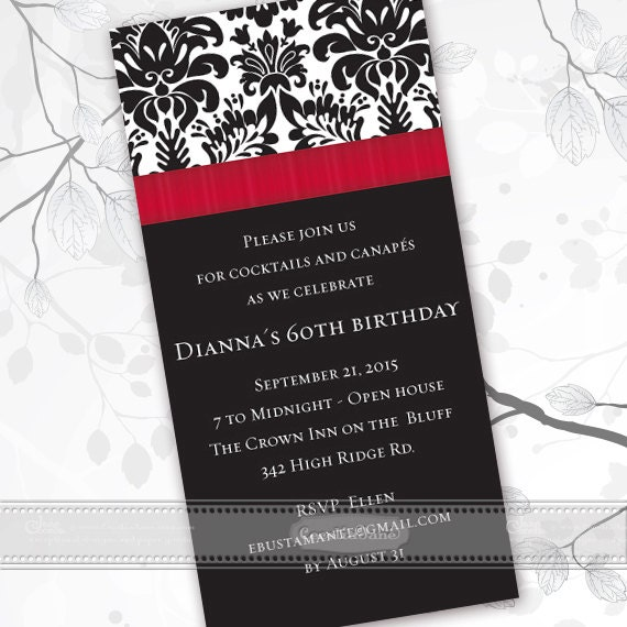birthday party invitations, black and red party invitations, black and red retirement invitations, crimson graduation invitations, IN404