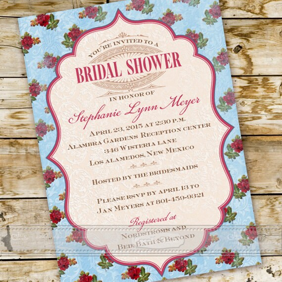 bridal shower invitations, Victorian bridal shower invitations, rose Victorian bridal shower invitations, tea party invitations, IN411