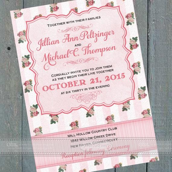 wedding invitations, Victorian bridal shower invitations, Victorian baby shower invitations, retirement party invitations, IN411