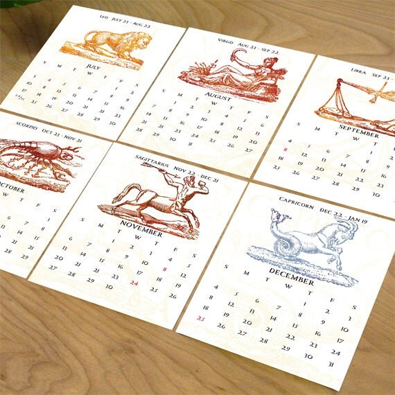 2017 desk calendar, zodiac desk calendar, 2017 zodiac calendar, horoscope calendar, office desk calendar, 2017 zodiac calendar