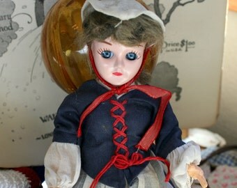 1950s Plastic Sleepy Eye Doll, 8 inches, Revolutionary War Outfit