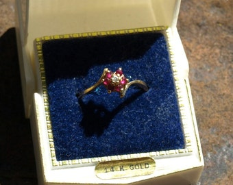 Vintage Ruby Diamond Cluster Ring 14K Yellow Gold