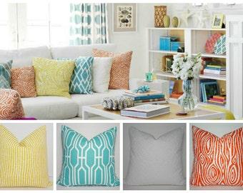 Coordinating Pillows Orange White Aqua Blue Yellow Pillow Covers Choose Your Pillows & Size Decorative Pillow Match