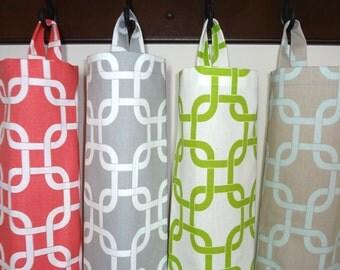 Plastic Bag Holder Grocery Bag Storage Kitchen Bag Storage Coral Grey Lime Blue Geometric Storage Bag Holder