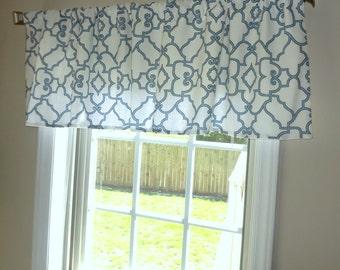 Curtain Valance Topper Window Valance 52x15 Covington Blue/White Black/Ivory Grey/White Trellis Valance