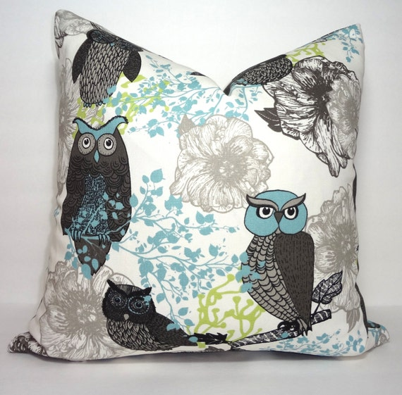 Owl Throw Pillow Covers : Items similar to Hooty Owl Bird Print Pillow Cover Peepers Macon Mantis Owl Decorative Pillow ...