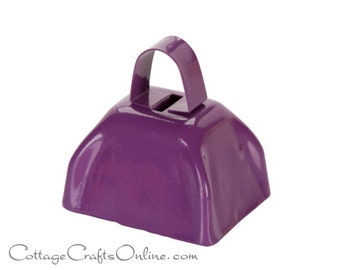 "SALE! Purple Cow Bell,  2.8"" x 3"" Jingle Bell - Darice Craft, Christmas, Mardi Gras, Halloween Craft Supply, Embellishment, Sleigh Bell"