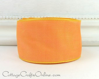 "Wired Ribbon 1 1/2"" Cantaloupe Light Orange,  TWENTY FIVE YARD Roll, Offray ""Gelato"" Cantalope Melon, Peach, Spring Wire Edge Ribbon"