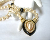 1980's signed NAPIER Pearl and Rhinestone Long Necklace, pearl medallion, Excellent