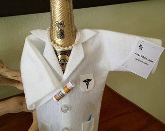 Personalization free, White Coat Ceremony,Birthday, Anniversary, Champagne or Wine cover, Doctor,Pharmacist,Dentist, Graduate,