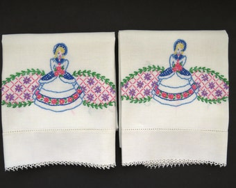 SOUTHERN BELLE Hand Embroidered Pillowcases - Set of 2 - Victorian Lady Girl - Shabby Chic - Vintage Muslin Bedding Linens - Gift