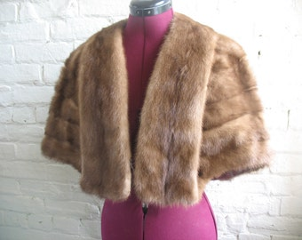 Vintage Honey Brown Mink Fur Stole/Cape/Shawl/Wrap